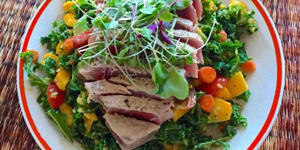 Tropical Kale Salad with Seared Ahi