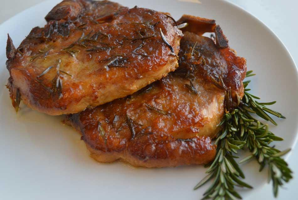 Apricot Glazed Rosemary Pork Chops